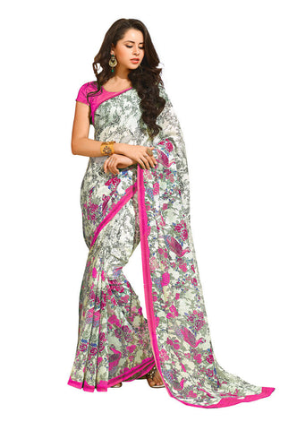 White Linan silk saree
