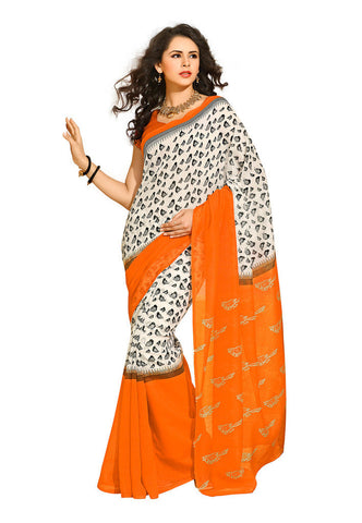 White & Orange Linan silk saree