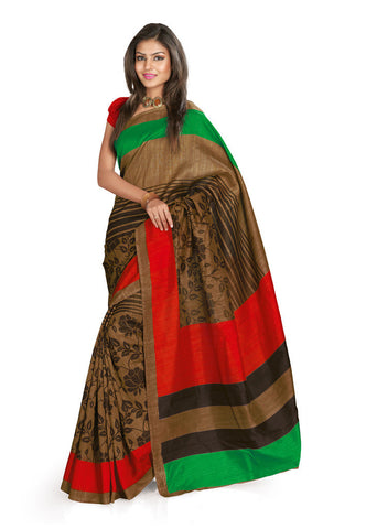 Brown & Blue color Bhagalpuri Silk saree