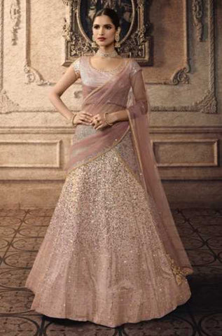 Light Purple Net Party Wear Lehenga With Light Purple Dupatta