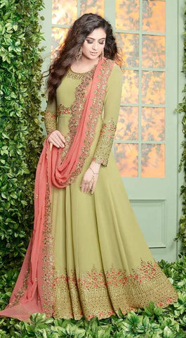 Green Georgette Embroidered Work Anarkali Suit With Red Dupatta