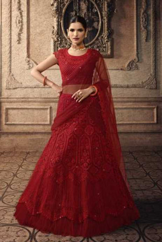Red Net Party Wear Lehenga With Red Dupatta