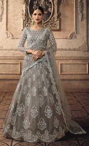 Grey Net Party Wear Lehenga With Grey Dupatta