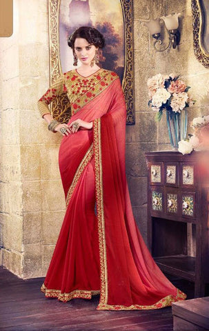 Red,Satin Georgette,Designer party wear saree