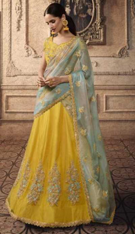 Yellow Net Party Wear Lehenga With Blue Dupatta