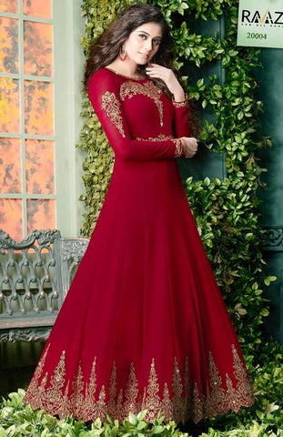 Red Georgette Embroidered Work Anarkali Suit With Beige Dupatta
