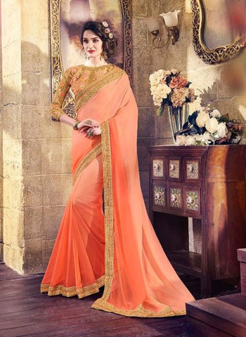 Orange,Satin Georgette,Designer party wear saree