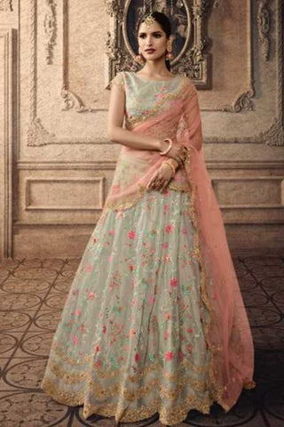 Greenish Grey Net Party Wear Lehenga With Paech Dupatta