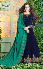 Blue Georgette Embroidered Work Anarkali Dress With Cyan Dupatta