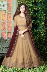 Beige Georgette Embroidered Work Anarkali With Maroon Dupatta
