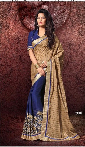 Saree of SATIN CHIFFON, Pallu of CHINON JEQUARD BUTTI and Blue Saree with  Golden Pallu