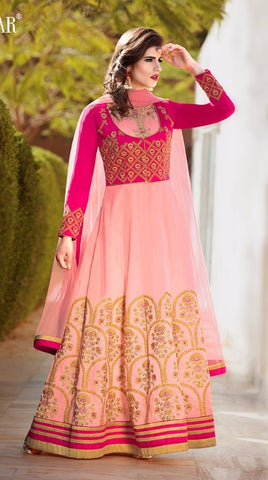 Pink Silk Embroidered Abaya style Anarkali Suit With Dupatta
