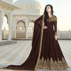 Brown Georgette Party Wear  Anarkali Dress With Brown Dupatta
