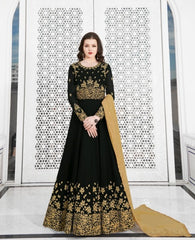 Dark Green Georgette Party Wear  Salwar Kameez With  Dupatta