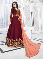 Maroon Georgette Party Wear  Salwar Suit With  Dupatta