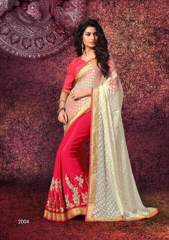 Saree of CHIFFON RICH COAT, Pallu of SIMRAN BRASSO CUT and Pink saree with heavy border and beige pallu