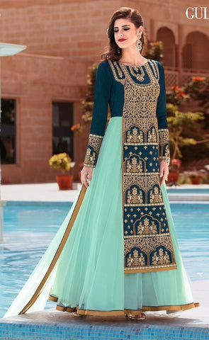 Cyan Silk And Net Embroidered Abaya Type Anarkali Suit With Dupatta