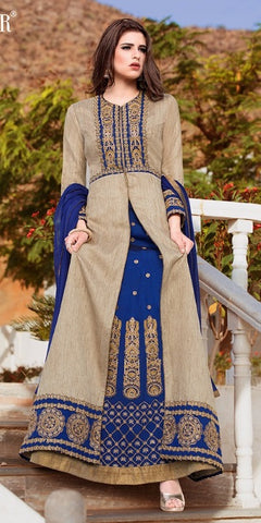Blue and Beige Abaya Style Anarkali Suit With Dupatta