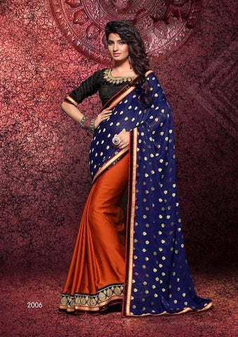 Saree of SATIN CHIFFON, Pallu of SATIN JEQUARD BUTTI and Orange Saree with blue pallu and black blouse