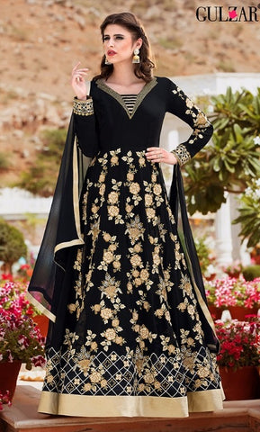 Black Georgette Embroidered Abaya Style Anarkali Suit With Dupatta