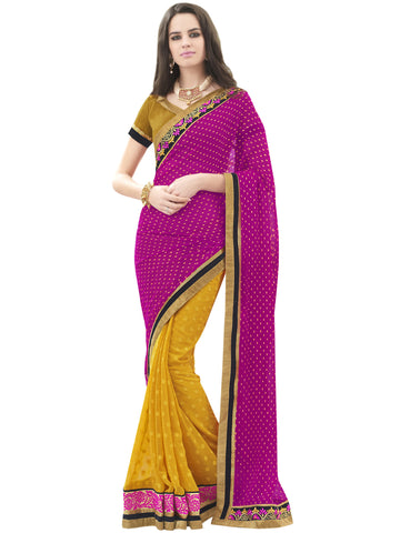 Pink , Yellow,Georgette Jacquard,Party wear designer saree