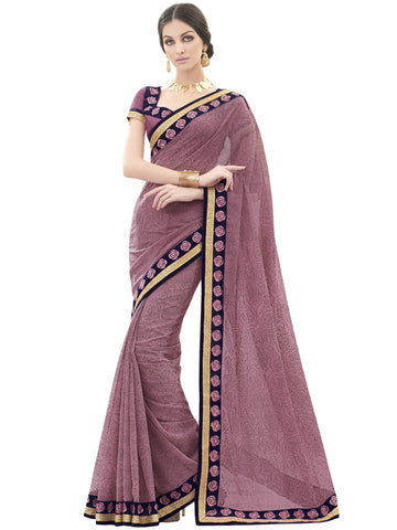Pink,Georgette,Party wear designer saree