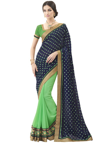 Violet , Green,Satin Chiffon,Party wear designer saree