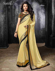 Designer beige satin chiffon sarees for speical occasion for women