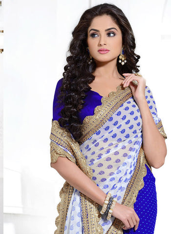 Bamberg Poly Georgette Printed Royal Blue Saree