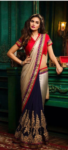 Beige , Blue,Georgette,Designer party wear saree