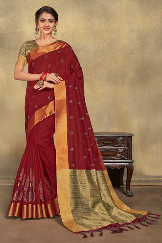 Red Jute Cotton Casual Wear Saree With Gold Blouse