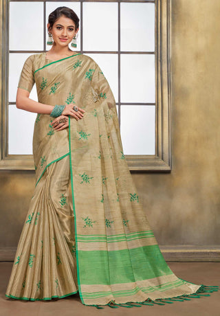 Beige Jute Cotton Casual Wear Saree With Beige Blouse