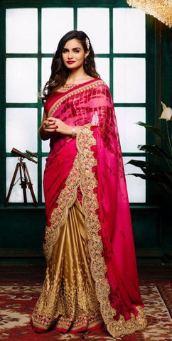 Pink , Beige,Satin,Designer party wear saree