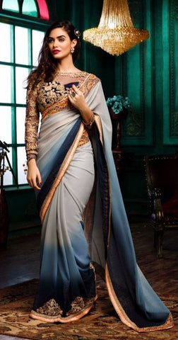 Multicolor,Georgette,Designer party wear saree