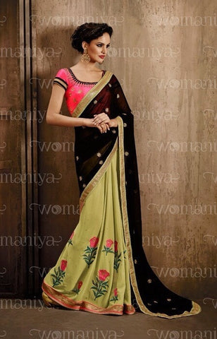 Saree Green,Georgette
