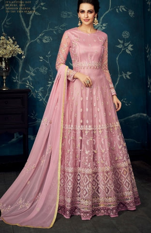 Pink Jacquard Party Wear Anarkali With Pink Dupatta