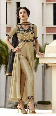Beige ,Georgette,Party wear designer suits