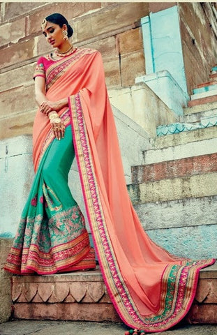 Peach , Cyan,Georgette,Heavy designer saree