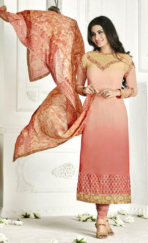 Peach,Georgette,Straight designer party wear suits
