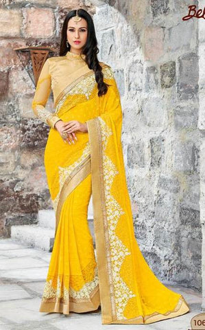 Yellow,Geogette,Party wear designer saree