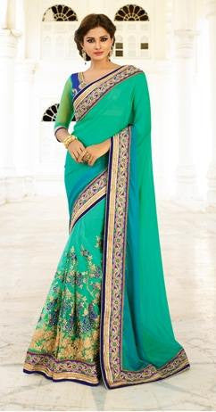 Cyan,Net,Heavy party wear bridal designer saree