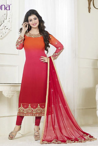 Orange & pink,Georgette ,Designer straight salwar suits