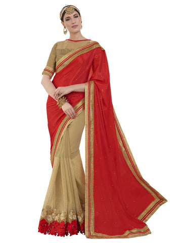 red , beige,georgette,Party wear designer saree