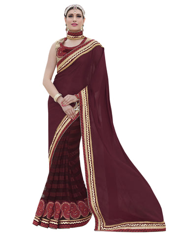 Maroon,chiffon,Party wear designer saree