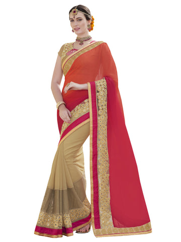 orange , beige,chiffon,Party wear designer saree