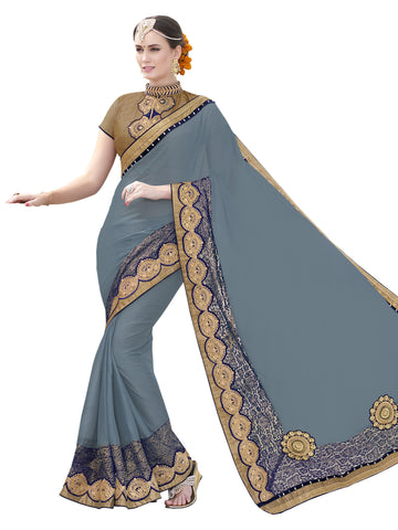 gray,chiffon,Party wear designer saree