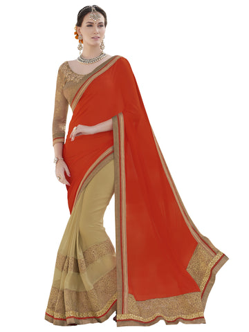 orange , beige,georgette,Party wear designer saree