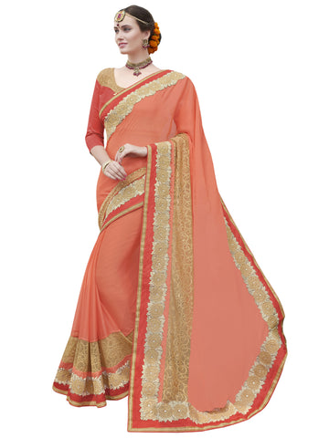 orange,chiffon,Party wear designer saree