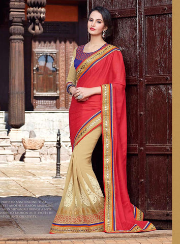 Red , beige,Georgette,Heavy designer party wear saree