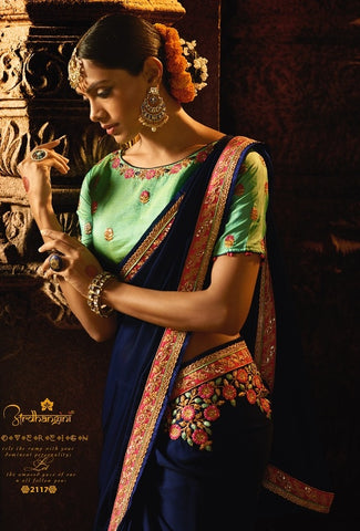 Dark Blue Silk Party Wear Saree With Green Blouse